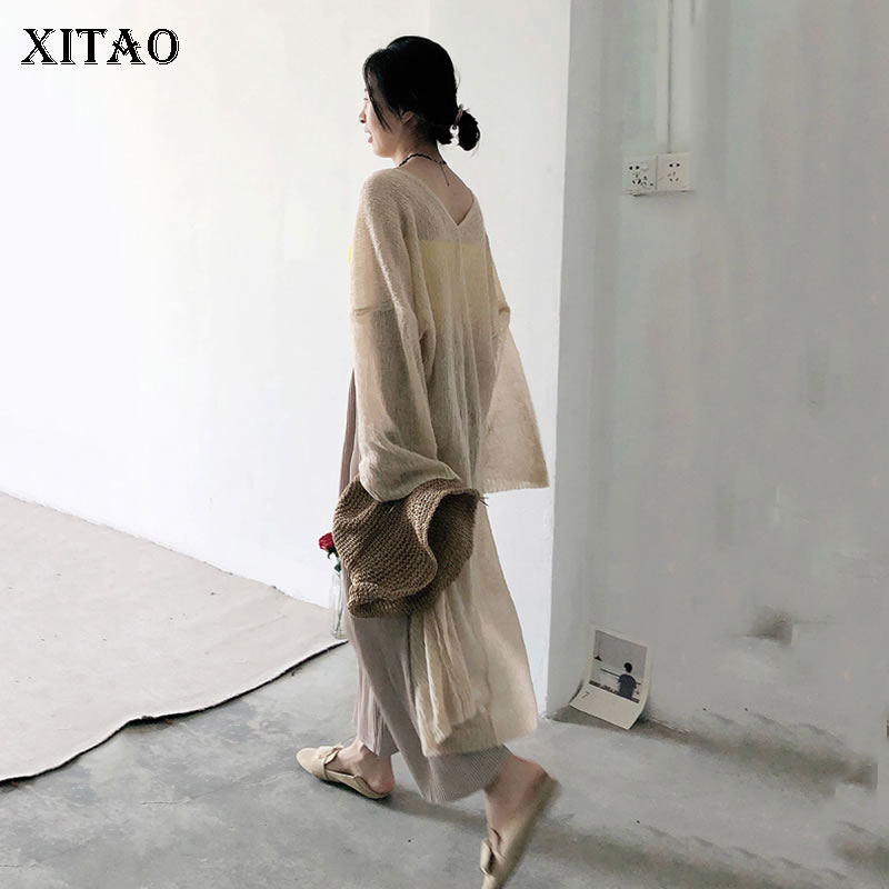 XITAO Thin Knit Plus Size Cardigan Top for Women Korea Summer Sunscreen Oversize Casual V Neck Wild Waist Maxi   Trench   KZH464