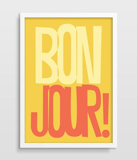 French Quote Print Typography Poster Bonjour Print Retro Print Retro ...