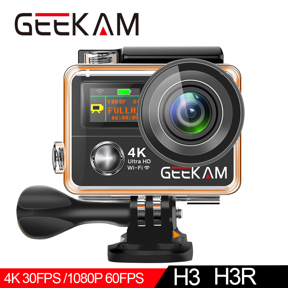 "GEEKAM H3R/H3 Action Camera Ultra HD 4K/30fps 20MP WiFi 2.0"" 170D Dual Screen Waterproof Helmet Video Recording Camera Sport Cam-in Sports & Action Video Camera from Consumer Electronics"
