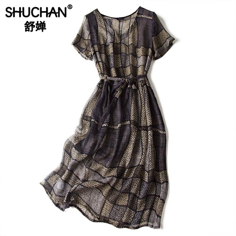 Shuchan bureau dame imprimé géométrique robe en soie naturelle au genou longueur mince col en v nouveau 2019 mode d'été robes femmes A0677
