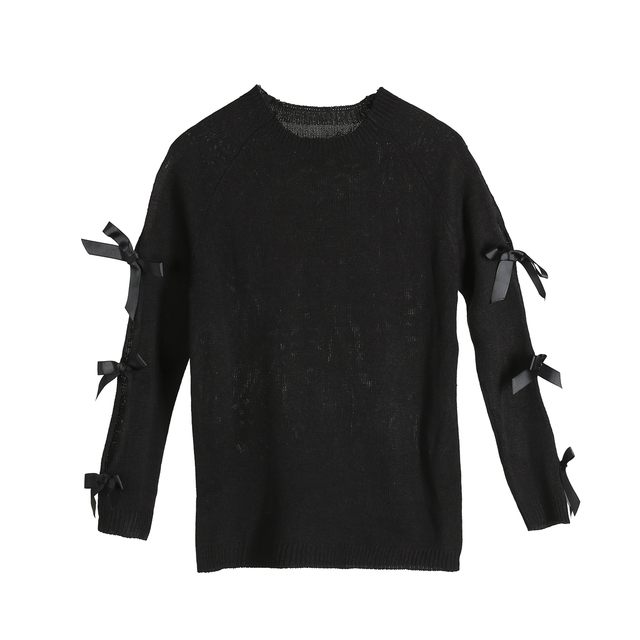 Stylish Womens Bow Hollow Sweater5