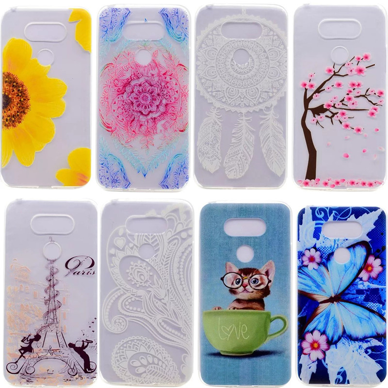 TPU Soft Cases For LG G5 G3 G4 G2 K5 Transparent Printing Drawing Silicone Phone Cases Cover For LG G5 Fashion Soft Phone Cases