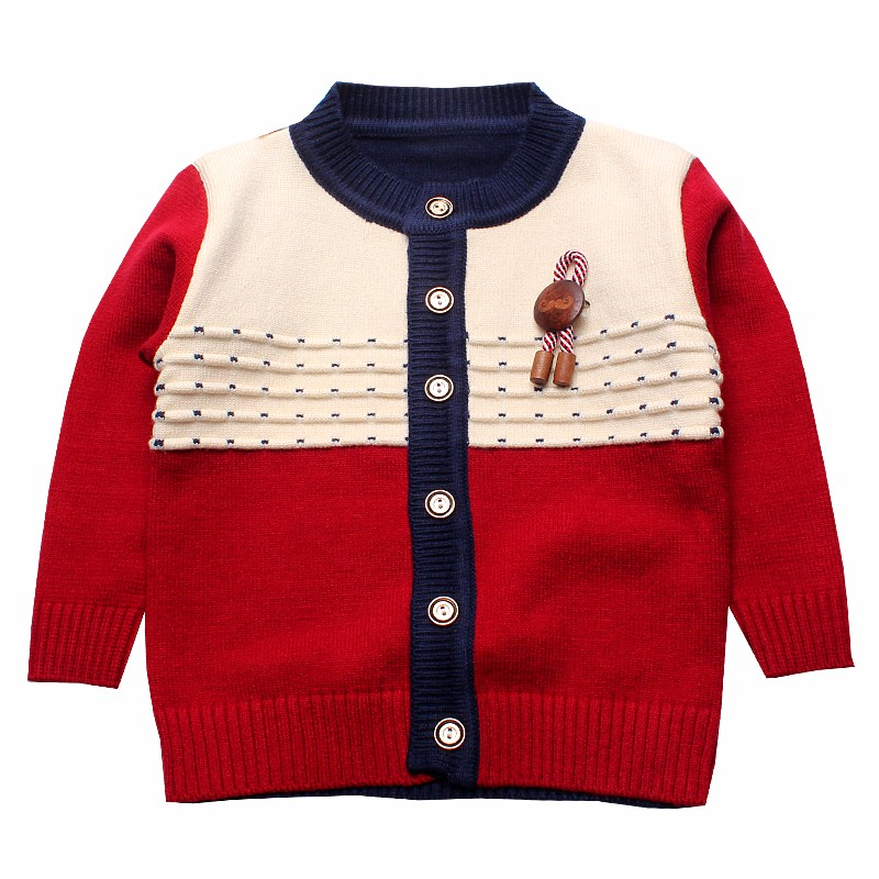 Boys Sweaters Print Cotton Top Knit Infant Outfit With Button Boy Corsage Outerwear Winter Warm Apparel Cardigan Knitted Clothes (3)