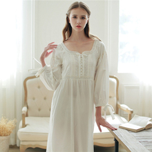 Vintage Nightgowns Female Pure Cotton Long-Sleeve Sleepwear Women Princess White Lace Embroidery Nightdress SA16026