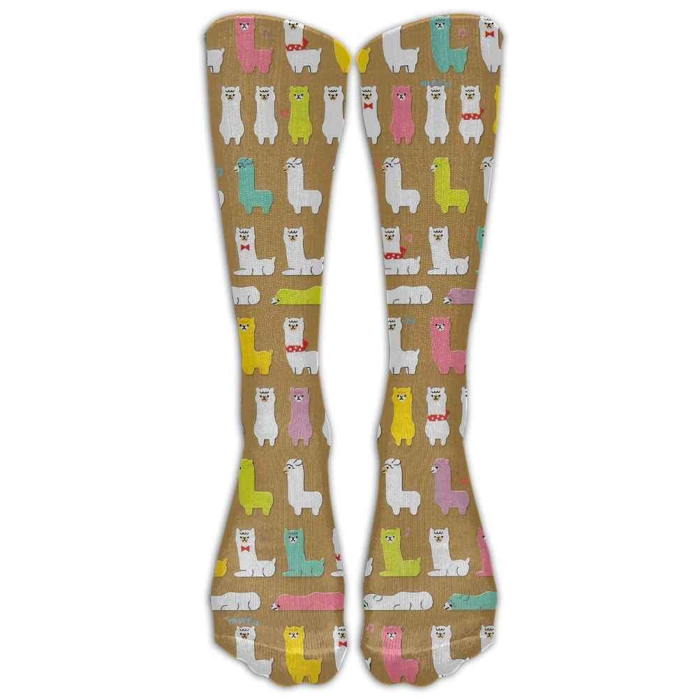 SAMCUSTOM Rode lama 3D Printing Mode Knie Sokken Vrouwen Katoen Hoge Over De Knie Kousen Voor Dames Lange Kous