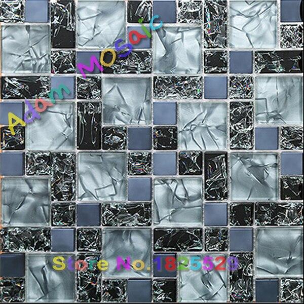 Azulejos de vidrio craquelado azul baño espejo de pared de diseño ...