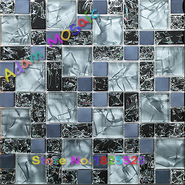 Superbe Crackle Glass Tiles Blue Bathroom Wall Mirror Design Forsted Mosaic Tile  Kitchen Backsplash Art Deco Black