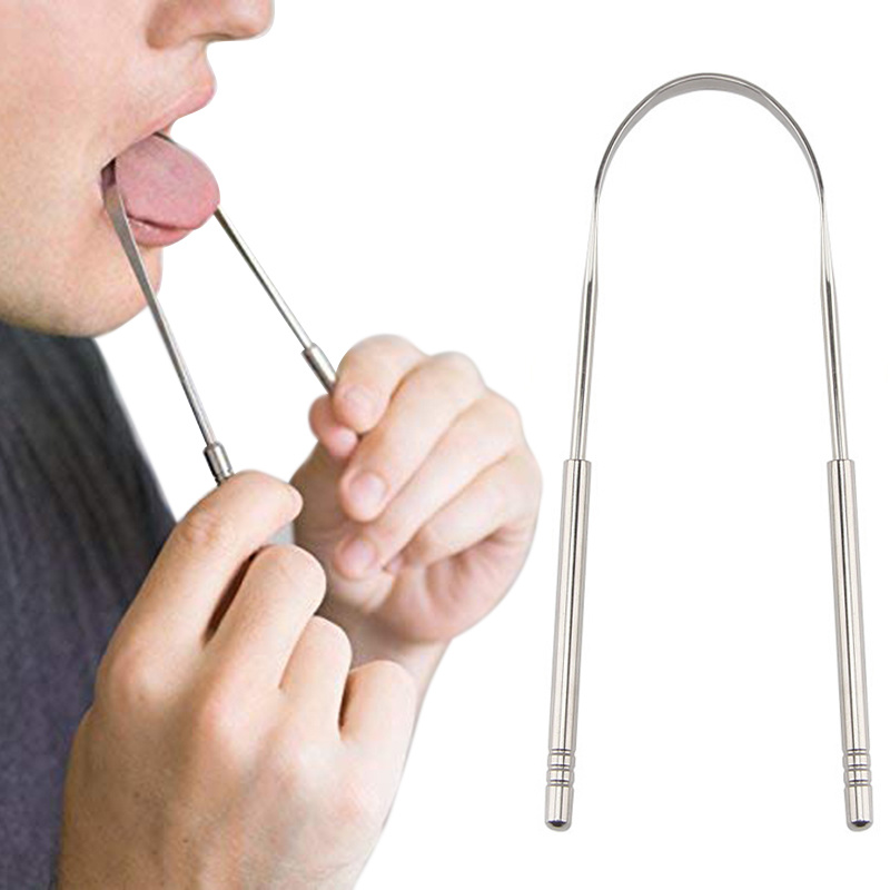 Healthy Tongue Cleaner Stainless Steel Silica Handle Tongue Scraper Oral Hygiene Dental Cleaning Brush Oral Care Toothbrush Tool