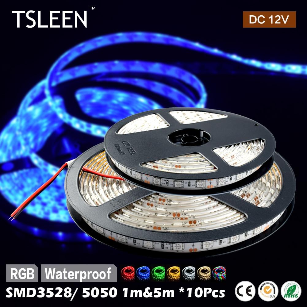 TSLEEN 10Pcs DC12V RGB LED Strip Light SMD5050 3528 Fita Led string Ribbon tape Bar Neon Lampada Lamps Holiday Party Decoration