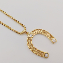 2019 New arrival Gold/silver color Stainless steel cz stones horseshoe pendant necklace U-shaped charm necklace jewelry CARA0484 цена