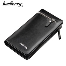 2019 Baellerry Men Wallets Long Casual Card Holder Soft Wallet For Cell Phone Coin Pocket Simple Smart Creative Male Purse