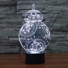 Creative Gifts Star Wars Lamp 3D Night Light BB8 Robot USB Led Table Desk Lampara as Home Decor Bedroom Reading Nightlight