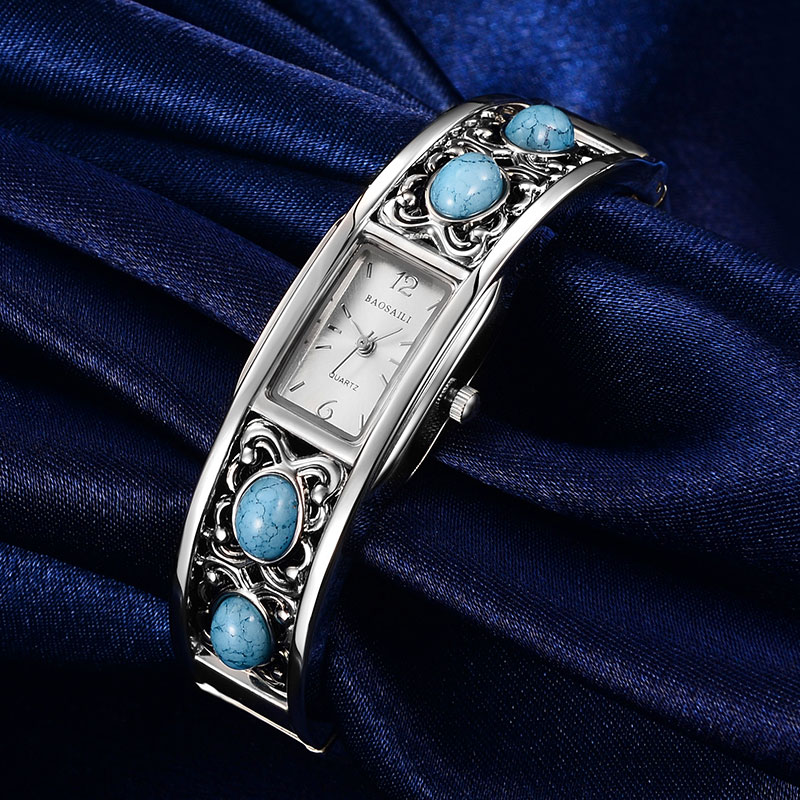 Prix pour BAOSAILI Marque Bracelet Montres Or Plaqué Turquoise Femmes Bracelet Robe Quartz Casual Montre-Bracelet Rectangle BSL-009