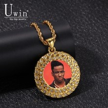 Uwin Custom Made Photo Medallions Necklace & Pendant Round Iced Out Crystal Rhinestone HipHop Jewelry For Gift
