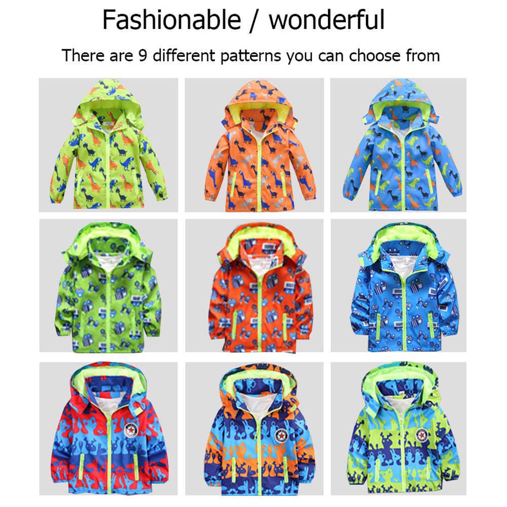 Детские куртки с капюшоном, водонепроницаемые ветровки, весенняя куртка для девочек с динозавром, Детская куртка-дождевик, верхняя одежда для мальчиков
