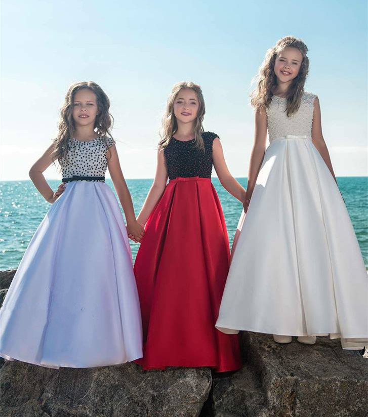 Elegant Luxury Girls Pageant Dresses 2018 Pearls Girls Communion Dress Ball Gown Kids Formal Wear Flower Girls Dresses satin and feathers cerise color ball gown little girls dresses kids with pearls kids girls formal pageant dresses