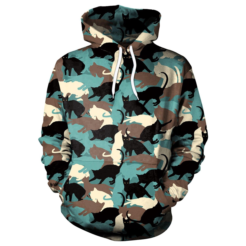 Men Hoodies Camouflage Cat Print Hoodies Men Hoodie Loose Long Sleeve Hooded Sweatshirt Streetwear Sudaderas Para Hombre