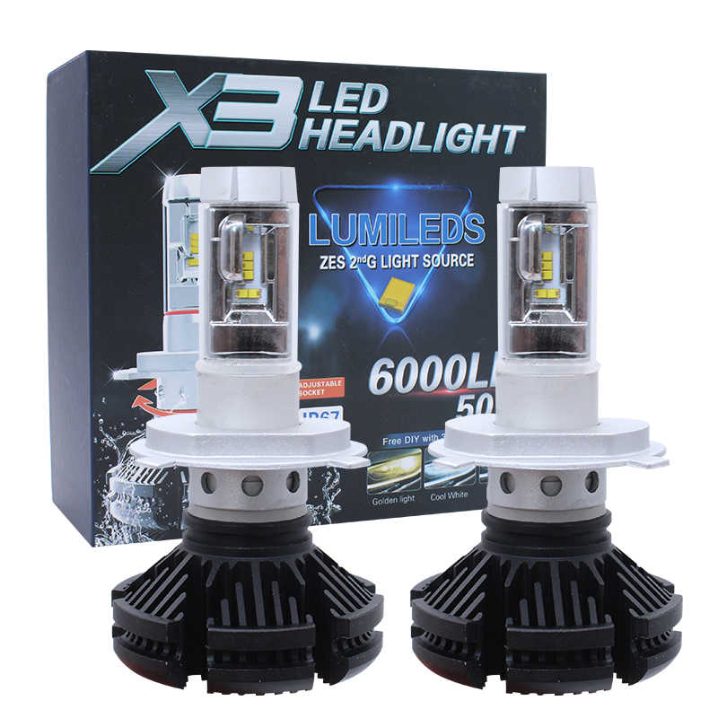 X3 H7 Led Car Bulbs 50W 12000LM 3000K/6500K/8000K H4 led H7 H11 H1 9005 9006 9004 H3 Fog Lamp