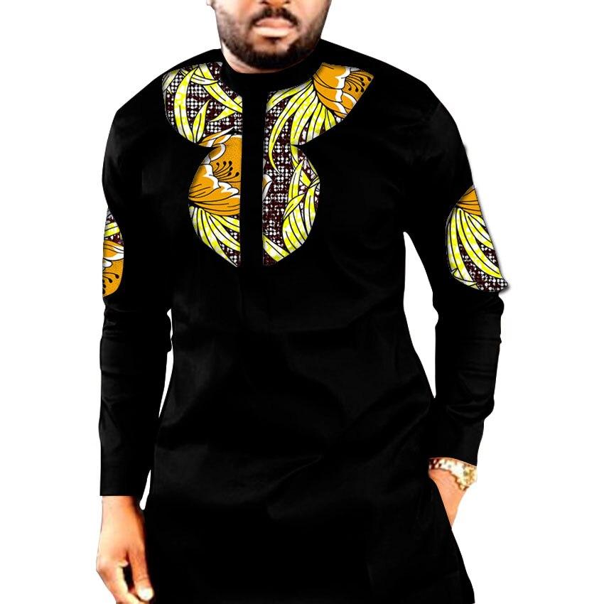 African Print Long Shirts Herrenmode Patchwork Slim Design Dashiki - Herrenbekleidung