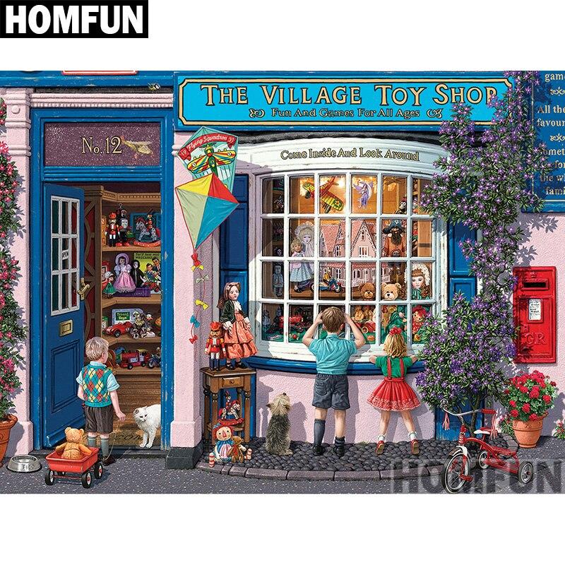 Алмазная 5D картина HOMFUN «деревенский магазин игрушек», вышивка крестиком из квадратных/круглых страз, домашний декор, A00778