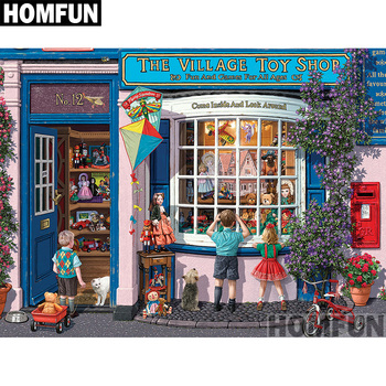 HOMFUN Full Square/Round Drill 5D DIY Diamond Painting Village Toy Shop 3D Embroidery Cross Stitch Home Decor A00778