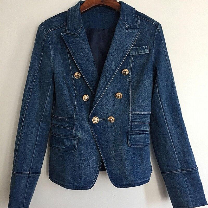 Feamle col rabattu bouton d'or Denim Jacekt mode Double boutonnage Streetwear survêtement Slim bureau dame Jeans manteaux - 2
