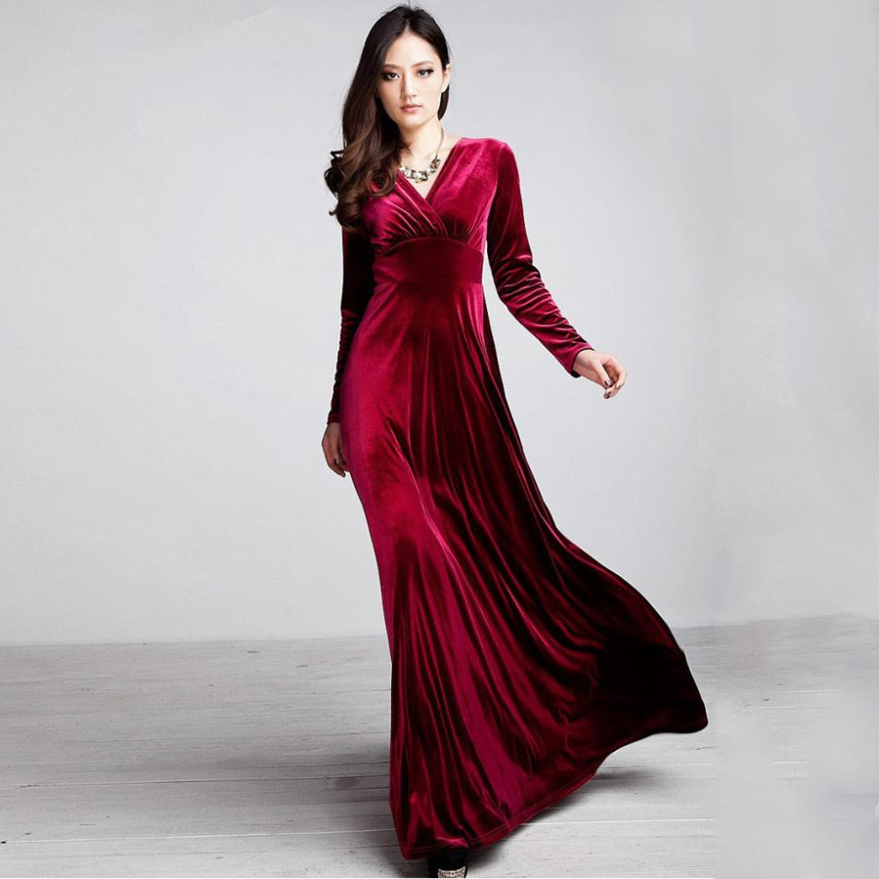 Online Get Cheap Maxi Long Sleeve Print Velvet Dress -Aliexpress ...
