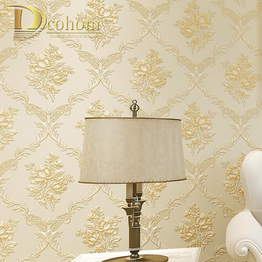 Bedroom Living room Home Decor Beige Pink Flower Romantic Pastoral Wallpaper For Walls 3  D Stereoscopic Floral Wall paper