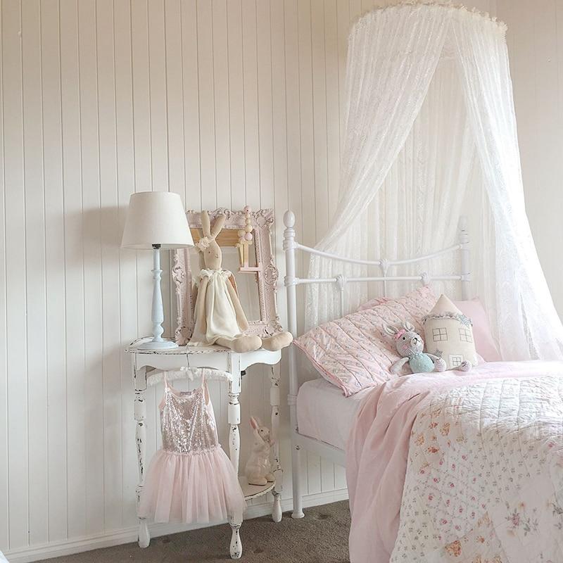 Krippe Netting Romantische Hing Kuppel Prinzessin Weiß Spitze Moskitonetz  Zelte Bett Luxus Kinderbett Baldachin Mädchen Zimmer Bett Vorhänge