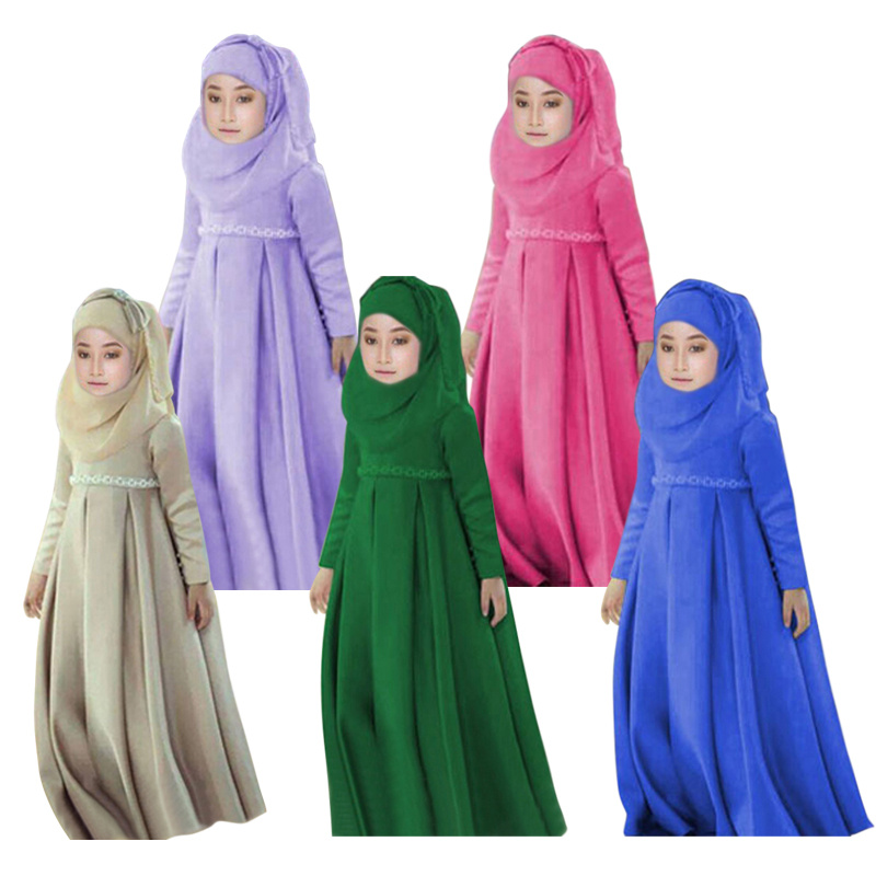 New Muslim Girls Dresses Long Sleeve Party Wedding Costumes Dress+Scarf+Bow Headclip 3pcs Children Clothing Sets Brand