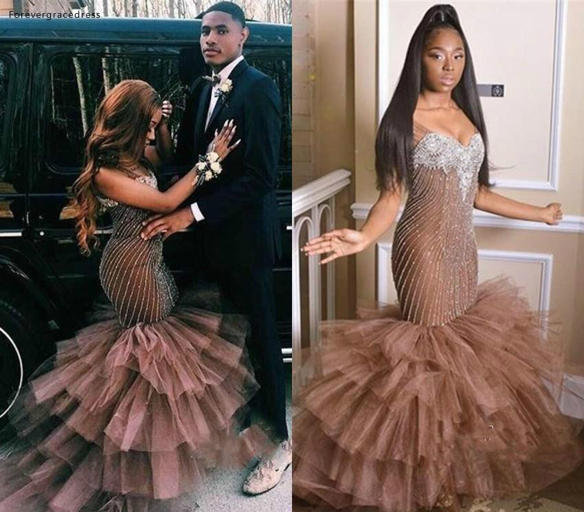South African Black Girls   Prom     Dresses   2019 Mermaid Layer Formal Pageant Holidays Wear Graduation Evening Party Gowns Plus Size