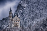 Castle Forest Winter Snow Germany Natural Landscape Poster Silk Fabric Cloth Print Wall Sticker Wall Decor