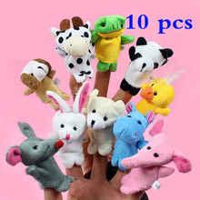 10 шт./компл. животные-марионетки на пальцы, Детские Мультяшные животные плюшевые игрушки для детей мягкая кукла марионетка Детские рассказать историю ткань ручной палец куклы