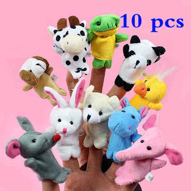 10 unids/set marionetas de dedo de animales de dibujos animados de animales de peluche de juguete para niños muñeca de títeres suaves de bebé muñecas
