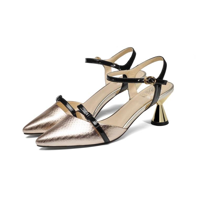 MLJUESE 2018 vrouwen sandalen lederen enkelbandje Zilver kleur puntschoen slingbacks hoge hakken pumps vrouwen maat 33 43-in Hoge Hakken van Schoenen op  Groep 3