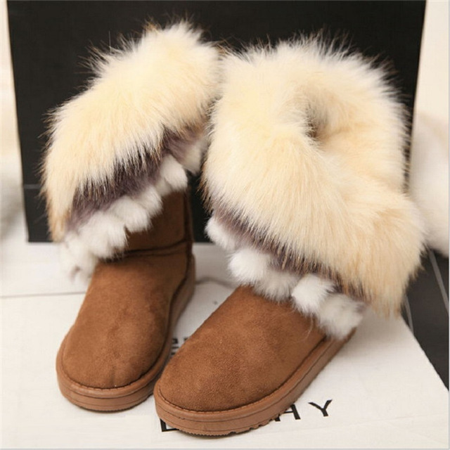 Women Winter Ankle Boots Snow  Female Fox Fur Wedges Australia Boots Ladies Botas 2016 rhinestone sheepskin women snow boots with fur flat platform ankle winter boots ladies australia boots bottine femme botas