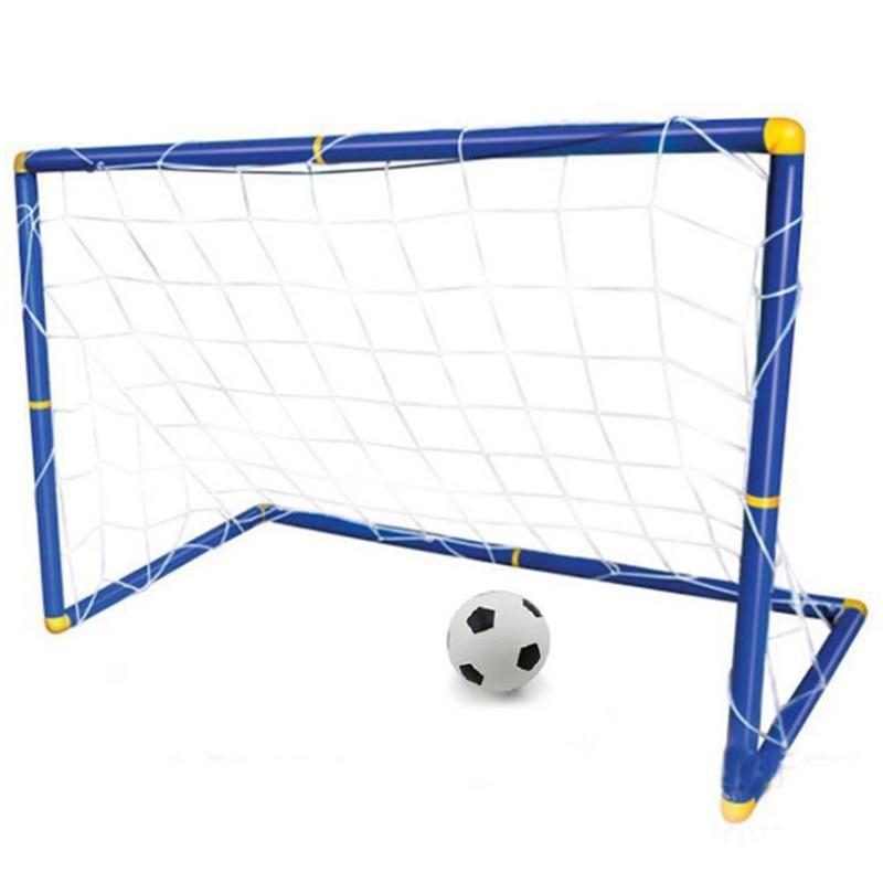 Folding Mini Football Soccer Ball Goal Post Net Set + Pump Kids Sport Indoor Outdoor Games Toys Child Birthday Gift Plastic(China)