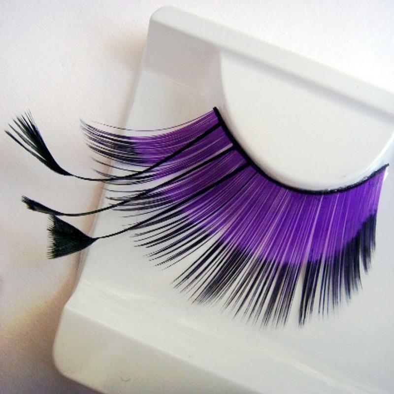 font b Colorful b font Purple Long Feather Costume Party Eye Lashes Profissional False Eyelashes