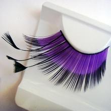 Colorful Purple Long Feather Costume Party Eye Lashes Profissional False Eyelashes Mink Eyelashes Individual Eyelashes