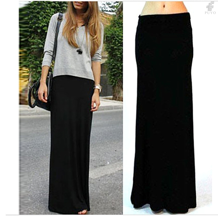 Online Shop Summer Style Fashion Pleated Maxi Skirt Black Color ...