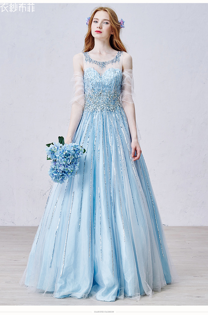 Hot Luxury Evening Dresses Ice Blue Tulle Delicate Arts And Crafts Gown Custom Celebrity