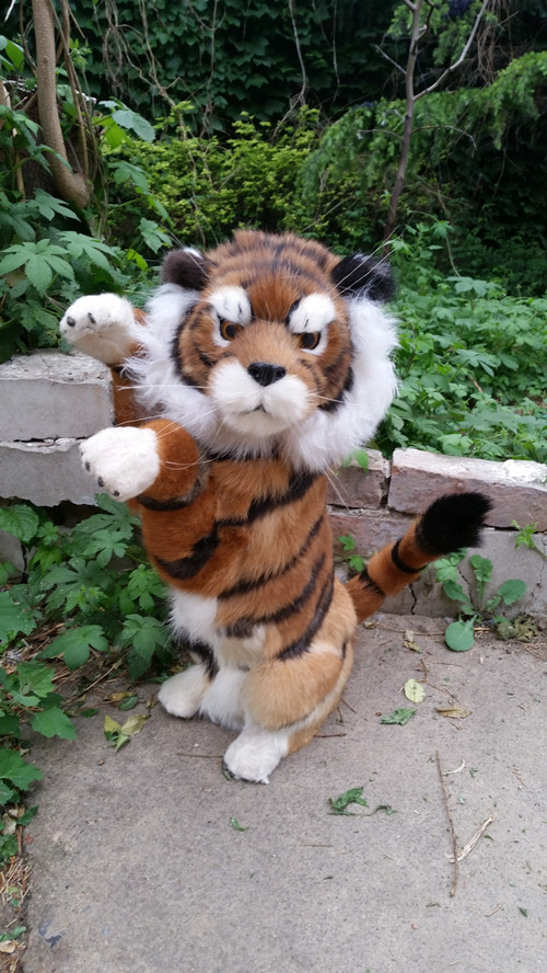 big new simulation tiger model plastic&fur left standing tiger doll gift 43x27cm a184 plastic standing human skeleton life size for horror hunted house halloween decoration