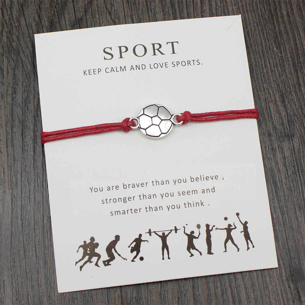 Su misura di Calcio di gioco del Calcio di Softball Pallavolo Cheerleader Carta di Desiderio Braccialetto per Lo Sport Ventole Regali Dei Monili Regolabile Con La Carta