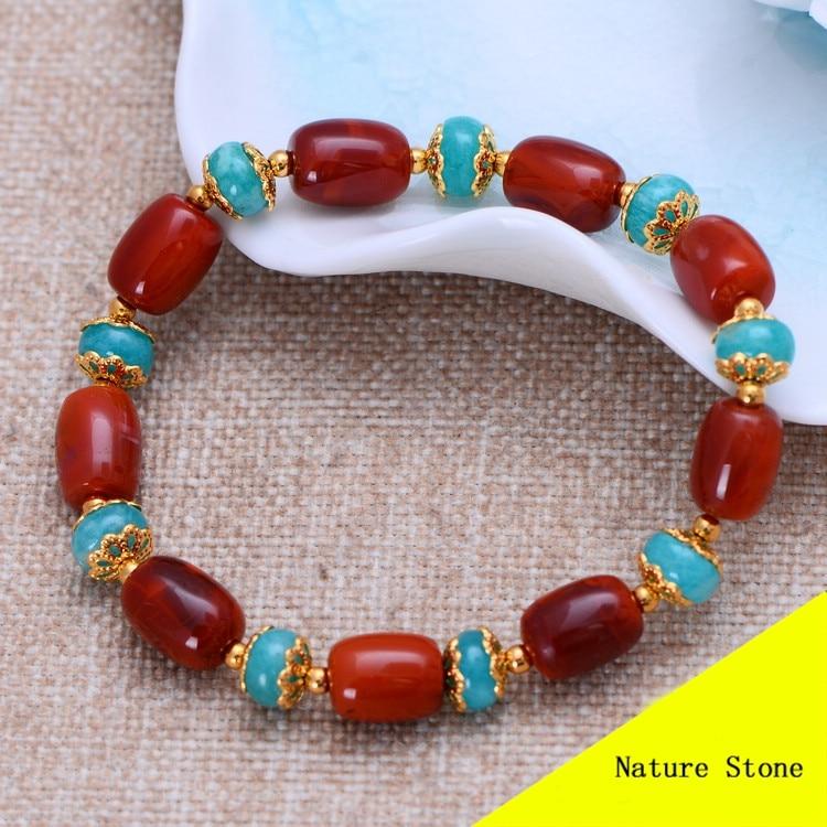 Fashion Red Southern & Blue Amazonite Bracelet Women Gift Jewelry Single String Bracelet NH045 fashion 5mm red southern bracelet women gift jewelry three several string long bracelet nh012