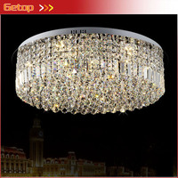 Лучшая цена K9 Кристалл светодио дный потолочные светильники Нержавеющаясталь круговой кристалл лампы Гостиная Спальня лампы светильники