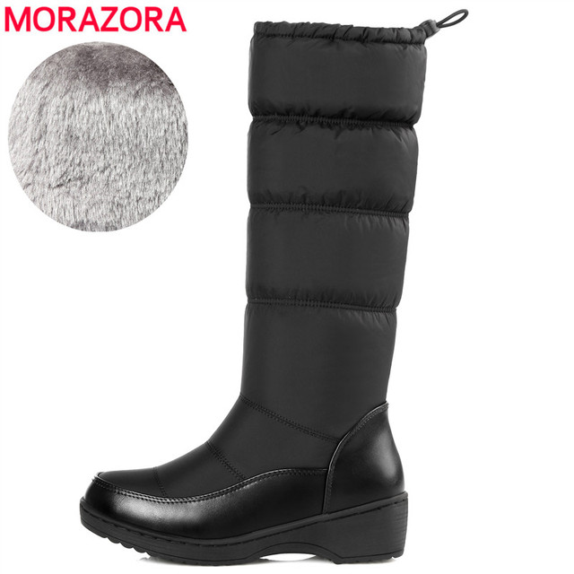 MORAZORA Plus size 35-44 New 2018 Fashion women boots keep warm down snow boots thick fur mid calf winter boots size 35-44 white