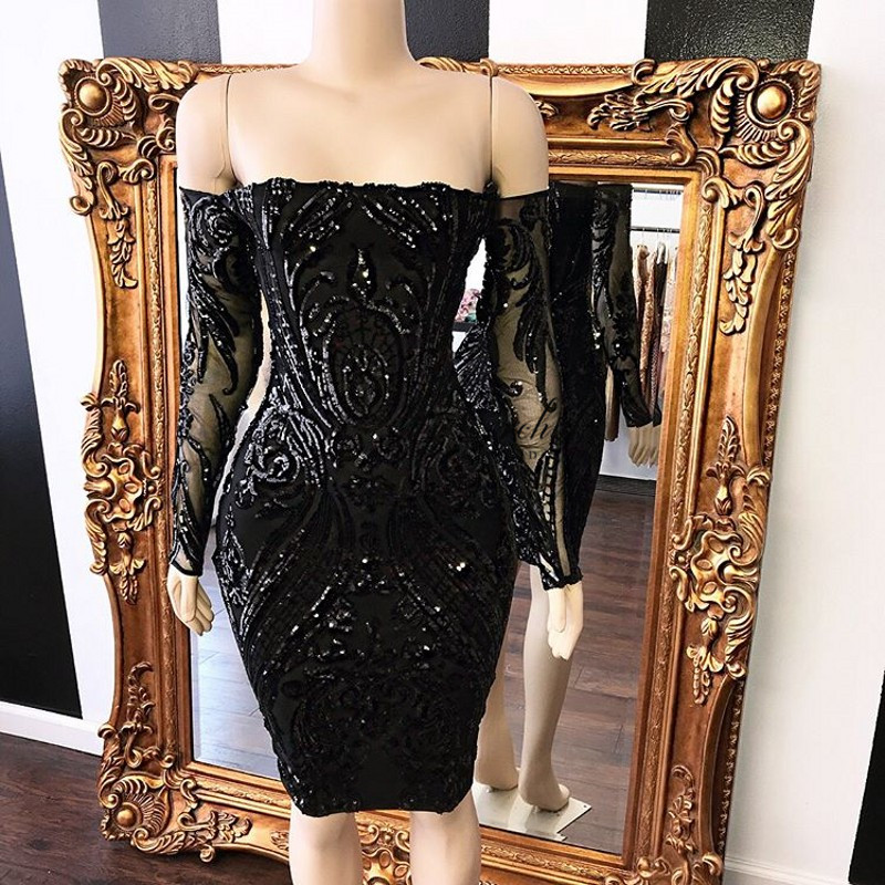 PEORCHID Black Sequin Short   Cocktail     Dresses   Long Sleeves Strapless Knee Length Semi Formal   Dresses   Women Prom Gowns 2019