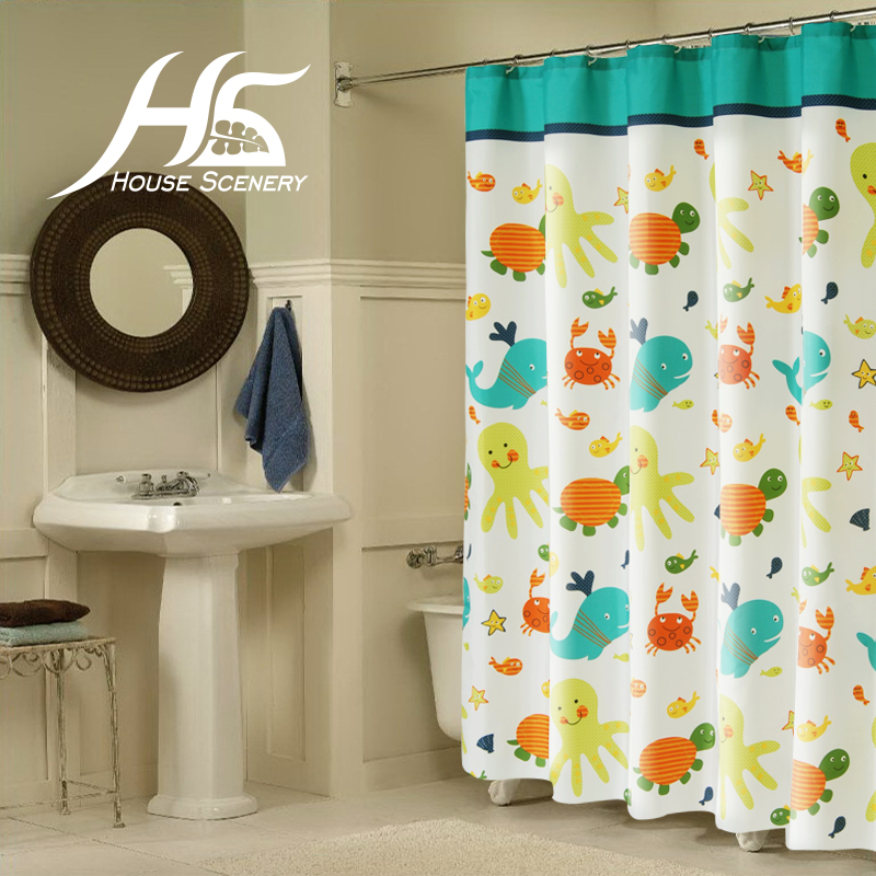 House Scenery Fish Crab Shower Curtain Cute Cartoon Copper Ring Waterproof  With Hook Bathroom 100% Polyester Kids Child Lovely In Shower Curtains From  Home ...
