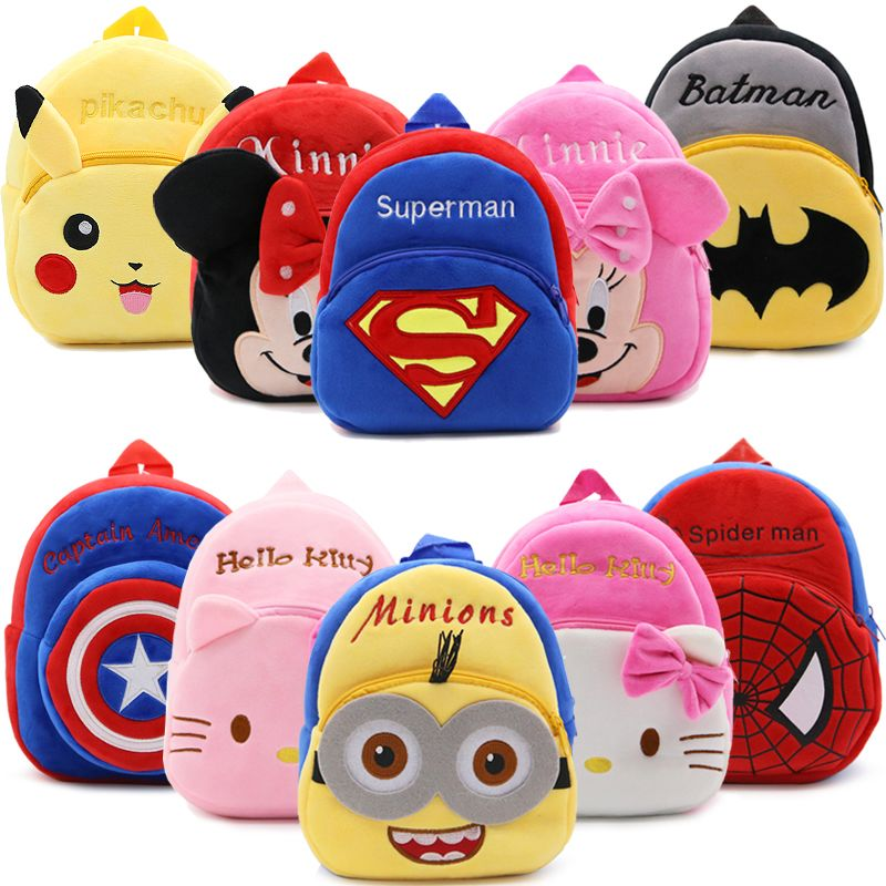 2017 Cartoon Kids Plush Backpacks Baby Mini Schoolbag Hello Kitty kindergarten Backpack Cute Children School Bags for Girls Boys