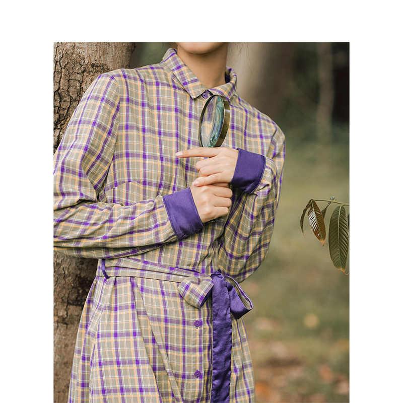 INMAN 2019 осень Новое поступление ретро клетчатая Мода контрастный цвет шнуровка подчеркивающий талию литературная Блузка Женское платье